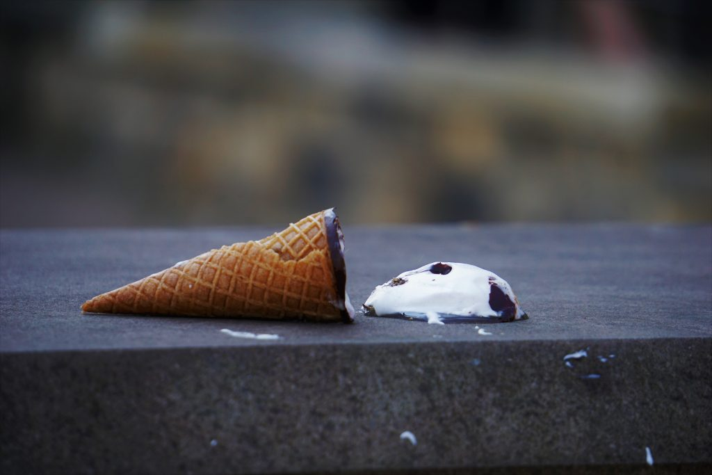 Ice cream falls apart and is left to melt